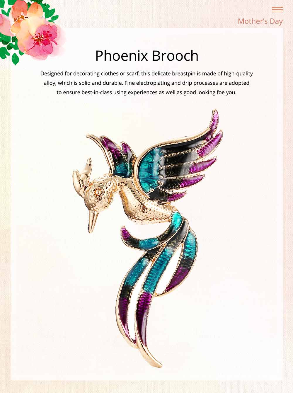 Little Dainty Phoenix Bird Enamel Painted Alloy Breastpin for Women, Colorful Dripping Scarf Clothes Decoration Accessories Animal Brooch 0