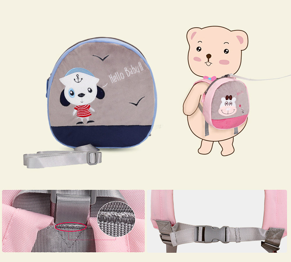 Mini Baby Cartoon Bag for Preventing Lost, Children's Backpack with Anti-loss Traction Cord 7