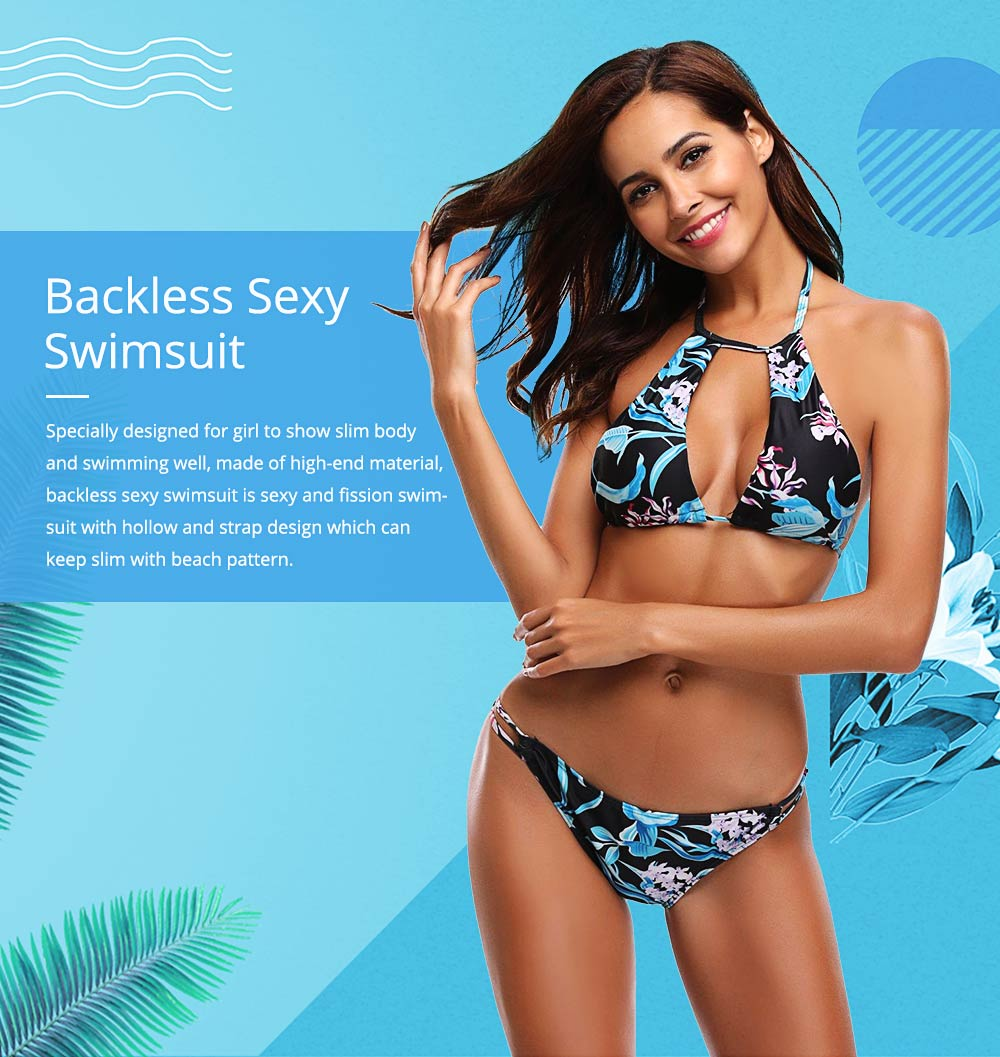 Backless Sexy Fission Swimsuit with Low Waist and Band Design, Skin-friendly and Comfortable Swimsuit 0