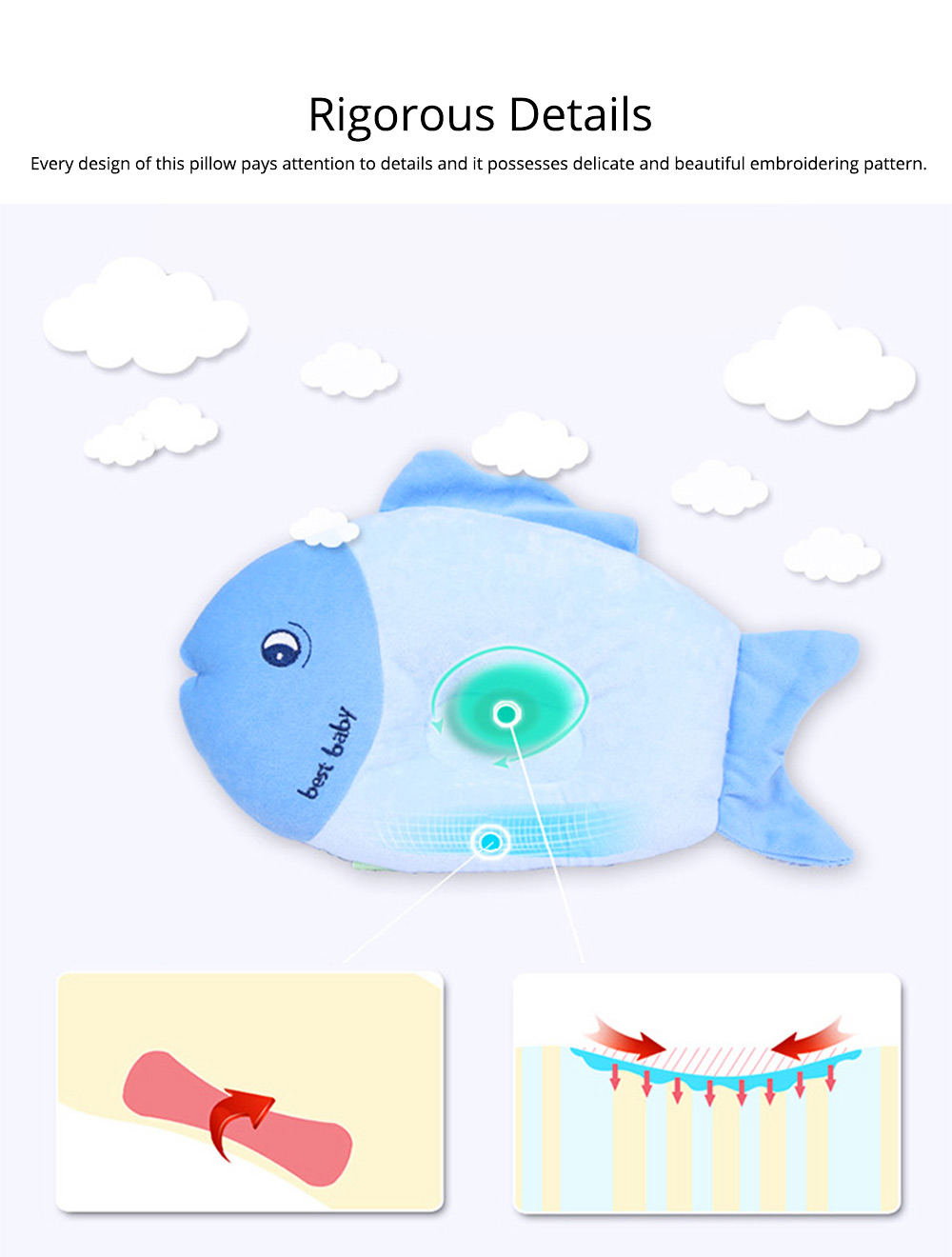 Fish-design Cotton Baby Pillow, Head-shaping Pillow for Preventing Plagiocephaly 3