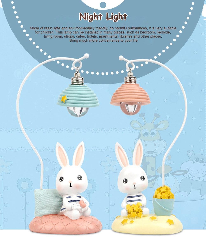 Cartoon Rabbit Night Light Resin Mini LED Night Lamp Home Decoration Creative Resin Ornaments 0