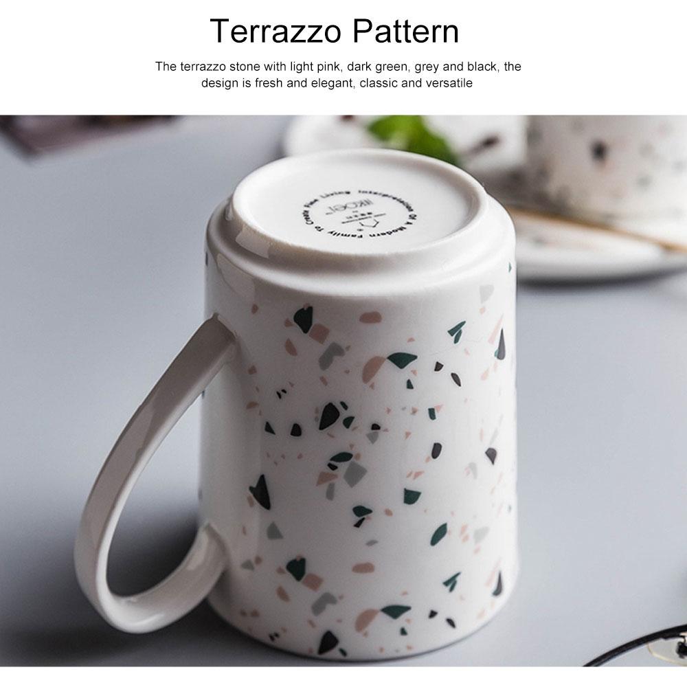Nordic Celebrity Terrazzo Mug with Big Head, Household Coffee Mug Office Ceramic Water Mug 4