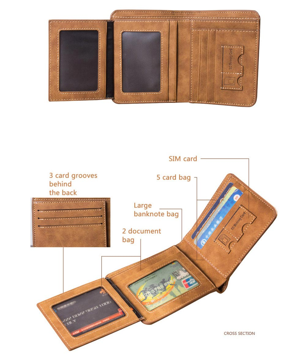 Genuine Leather Frosted Wallet with Three-folding & Multiple Cards Design & SIM Card Slot for Men. 7