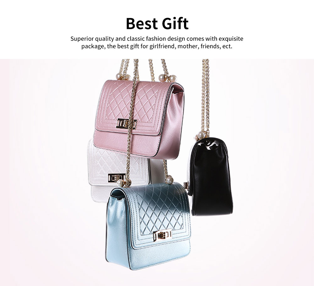 2019 Fashion Female PU Handbag Packets Shoulder Bag Crossbody Chain Small Square Tote Bag for Women Youth Lady Girl 5
