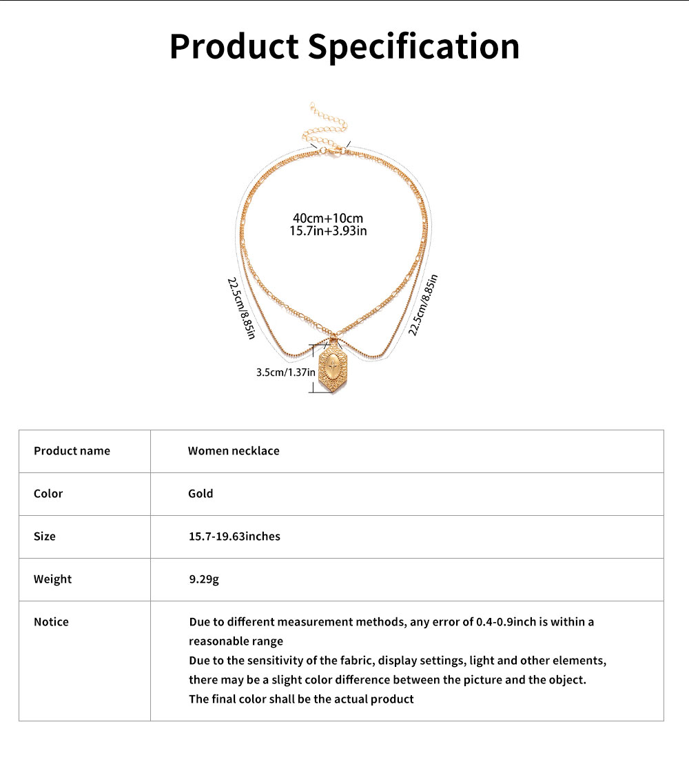 Women Necklace Double-layer Gold Medal Pendant Charm Necklace Religious Fine Jewelry Necklaces for Woman 6