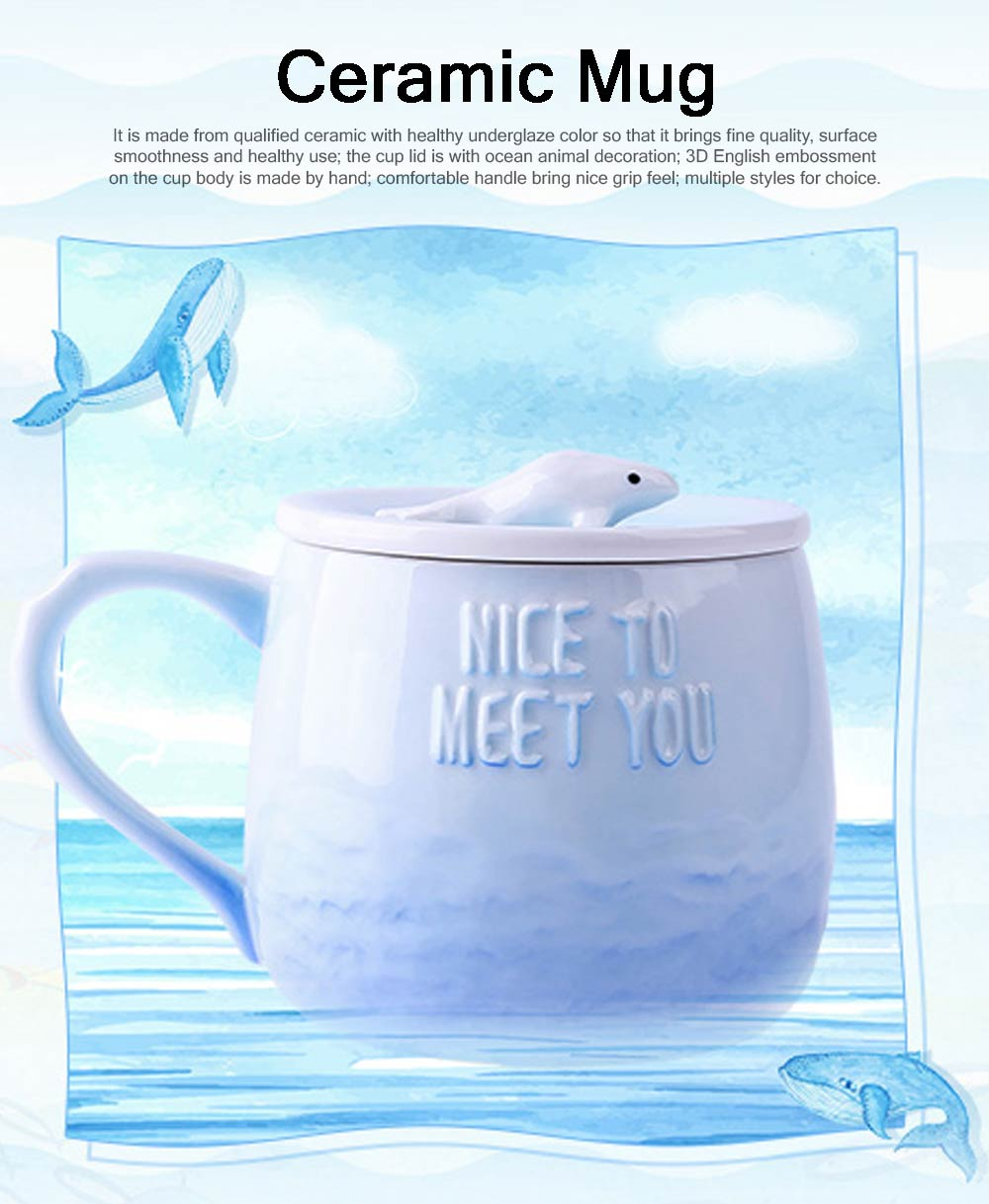 Breakfast Ceramic Cup Aromatherapy for Lovers Gift Gradient Ramp Color Cup Ceramic Cup with Lid Ocean Decoration 0