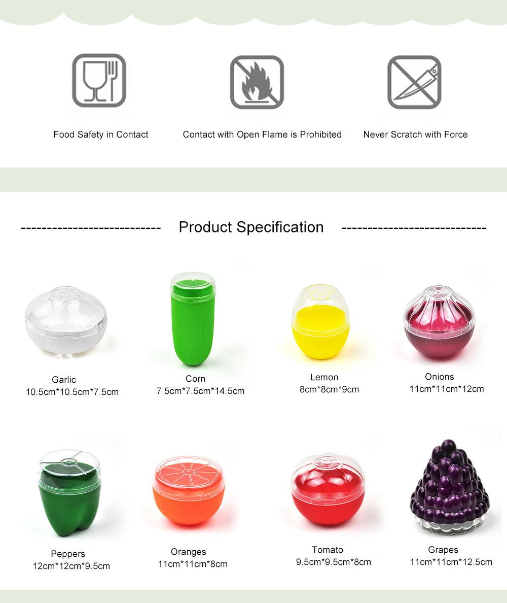 Mini Vegetable Sealed Box, Non-toxic Portable Plastic Crisper Set, Transparent Grape & Garlic Crisper Bowl 6