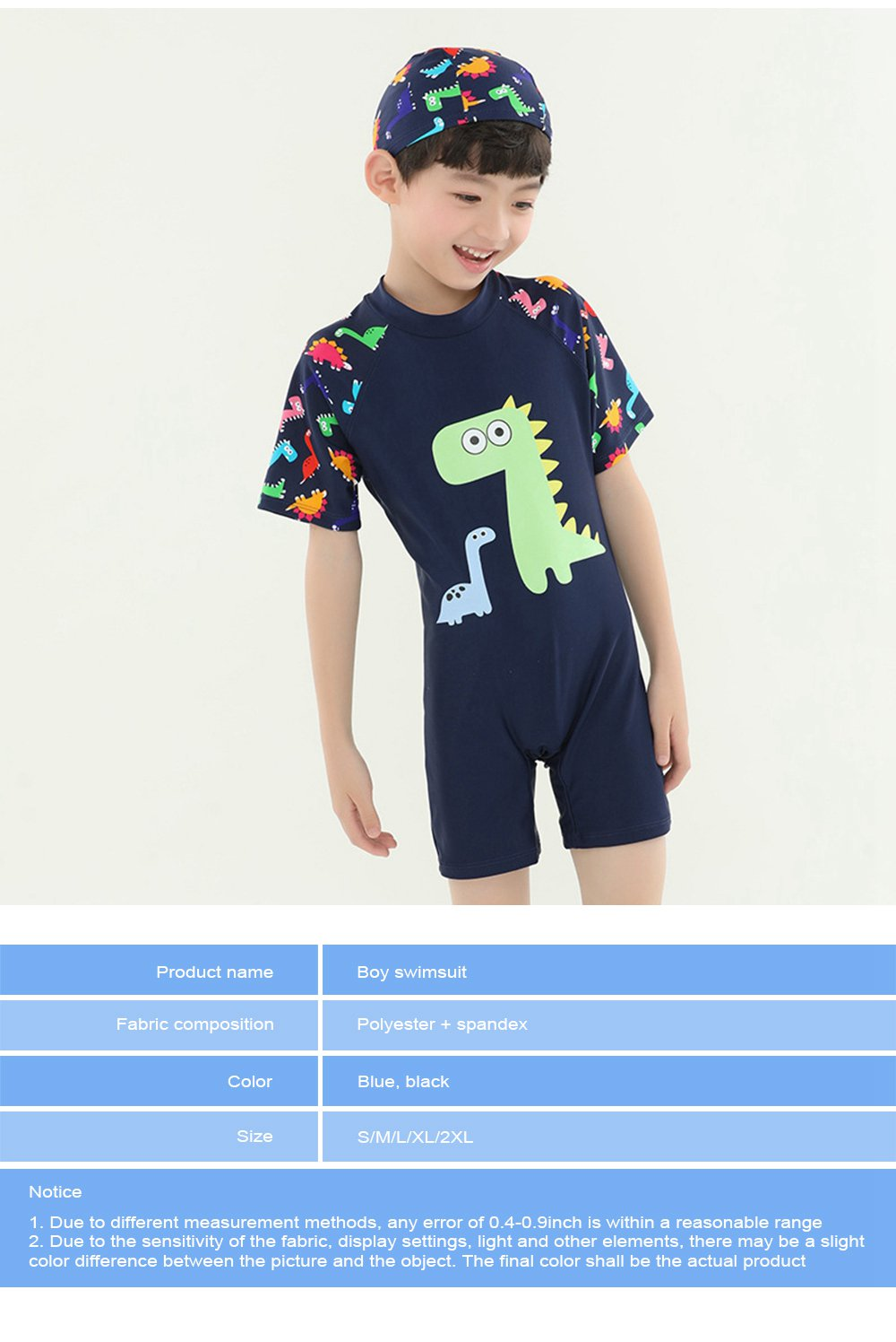 Little Boys One Piece Sunsuit Cute Short Sleeve Surfing Swimsuit Dinosaur Monster Children's Swimsuit with High Elasticity 7