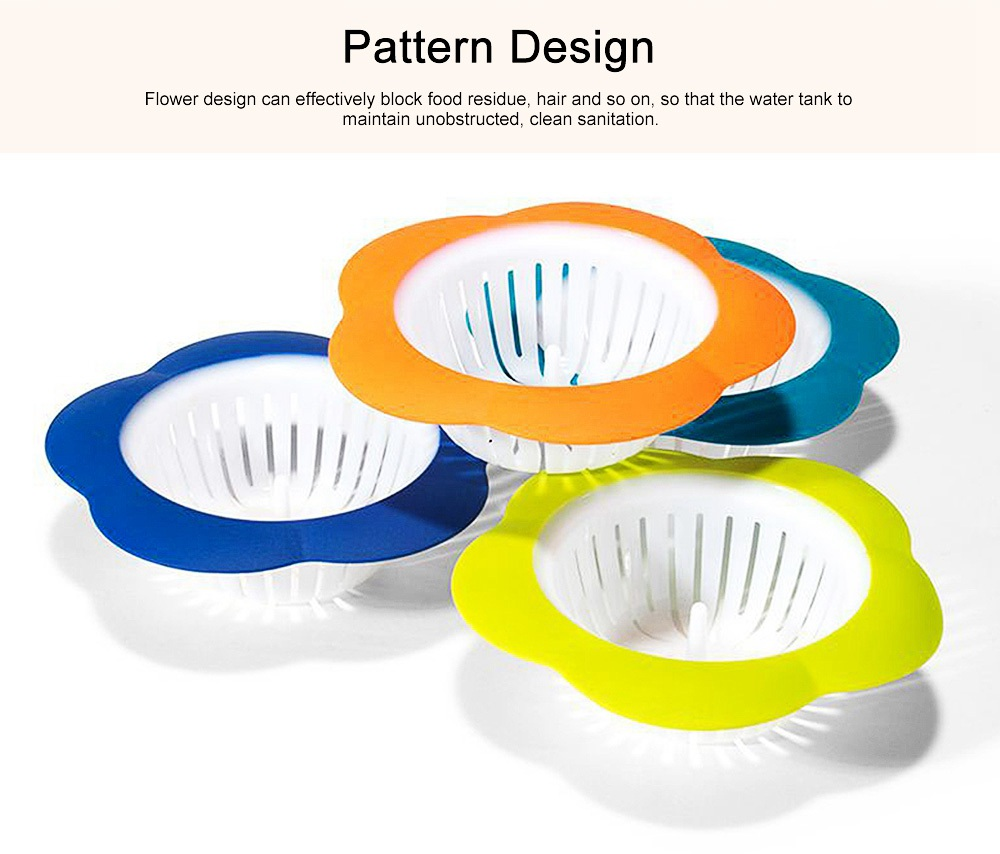 Durable Wear-resistant Bathroom Drain Plug with Flower Shape, PP Pattern Water Leakage, Anti-clogging Strainer 2