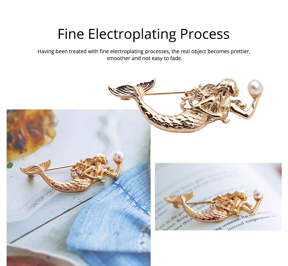 Dainty Cartoon Animal Mermaid Alloy Breastpin for Women, Bag Scarf Clothes Decoration Accessories Brooch with Pearl Ornament 2