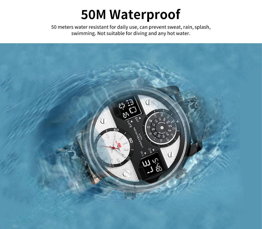Men's Quartz Watch with Date Genuine Leather Band Minimalist Wrist Watches Nightlight Waterproof 50M Sports Watches for Men 4