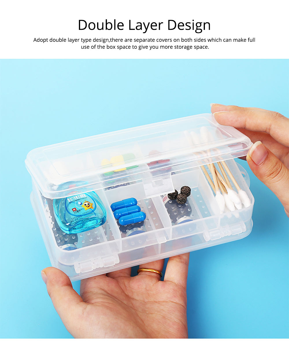 Transparent Pill Organizer For Small Medicine Bottle Wound Paste, Two-layers Portable Travel Medicine Box 1