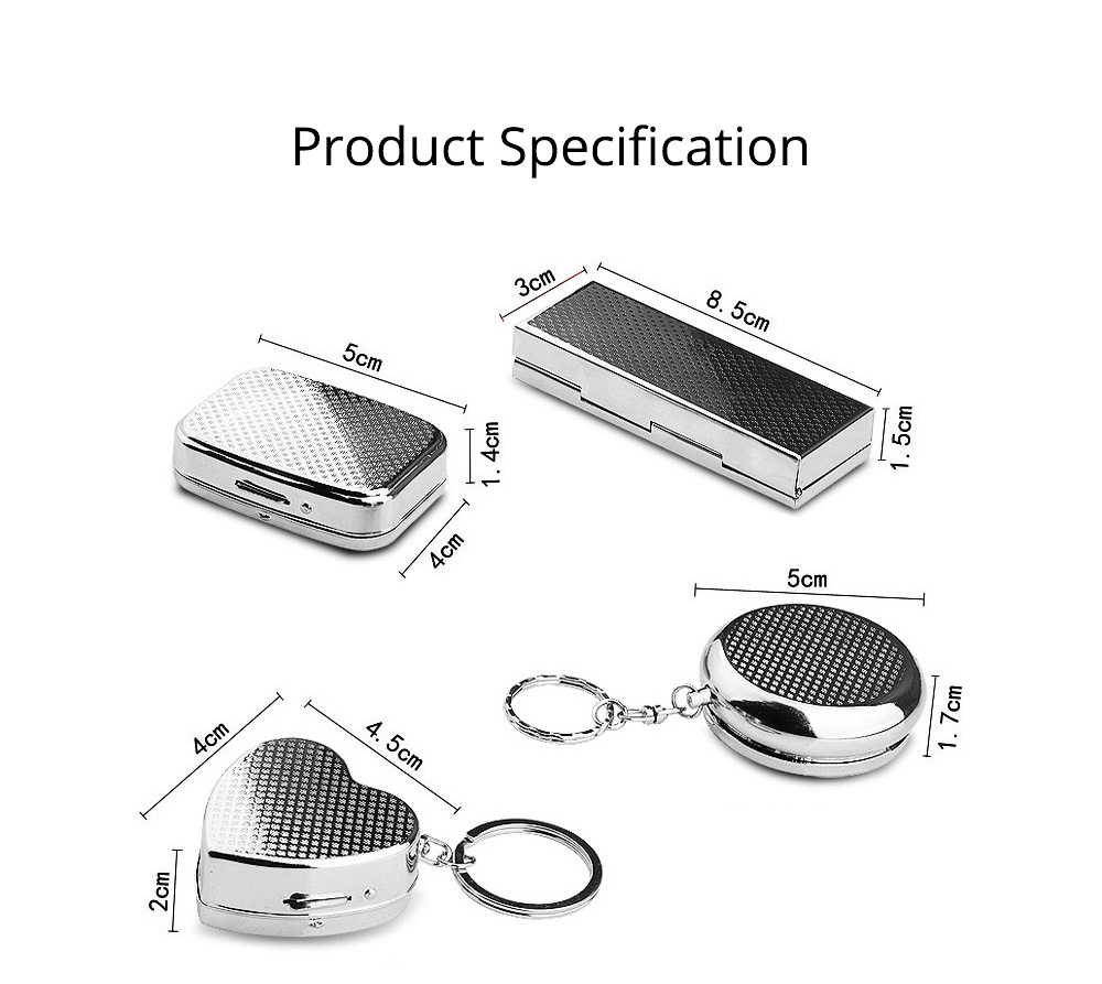 Stainless Steel Pill Holder, Creative 4 Shapes Pill Box With Inner Grid Design 7