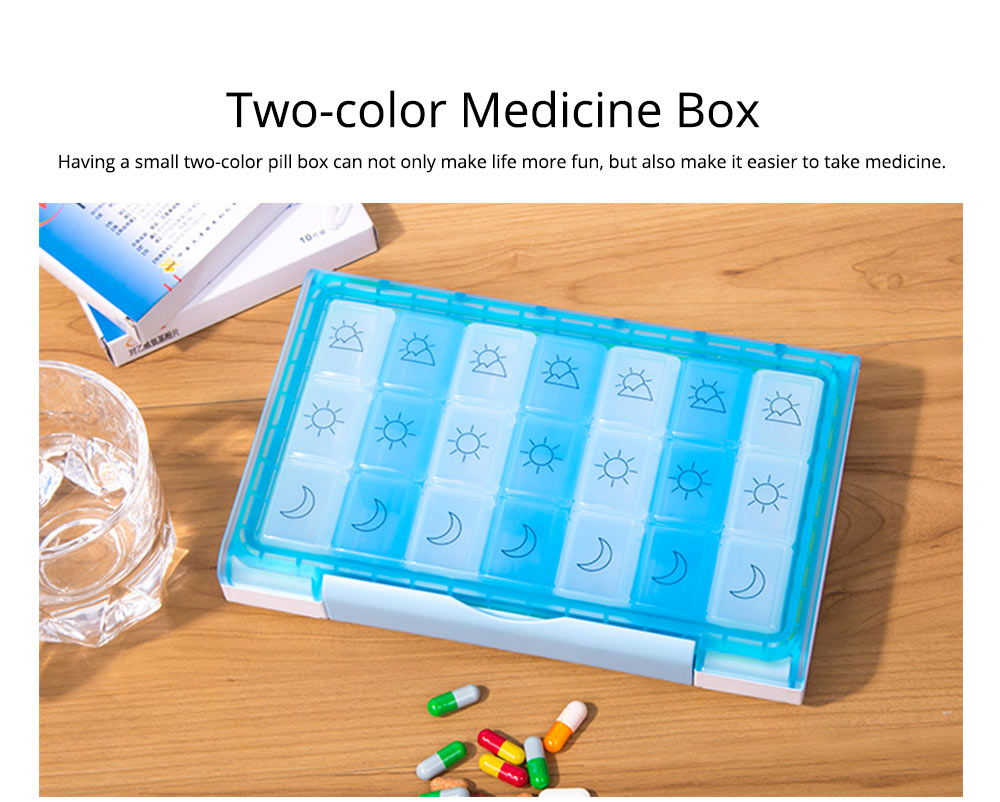7 Day 21 Slot Weekly Pill Box Medicine Tablet Holder Dispenser, Weekly AM/PM Pill Organizer Box with Snap Lids 1
