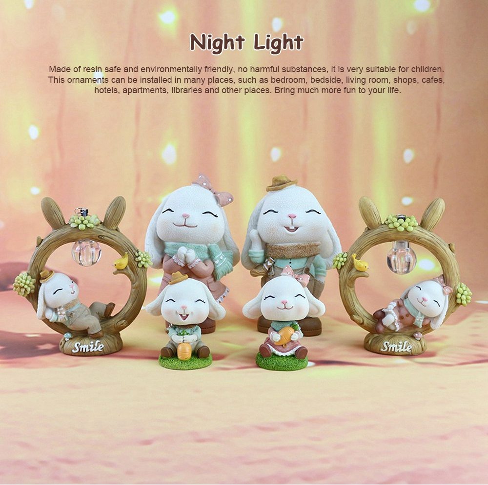 Anne Rabbit Night Light Piggy Bank Resin LED Mini Night Lamp Home Car Decoration Creative Resin Ornaments 0
