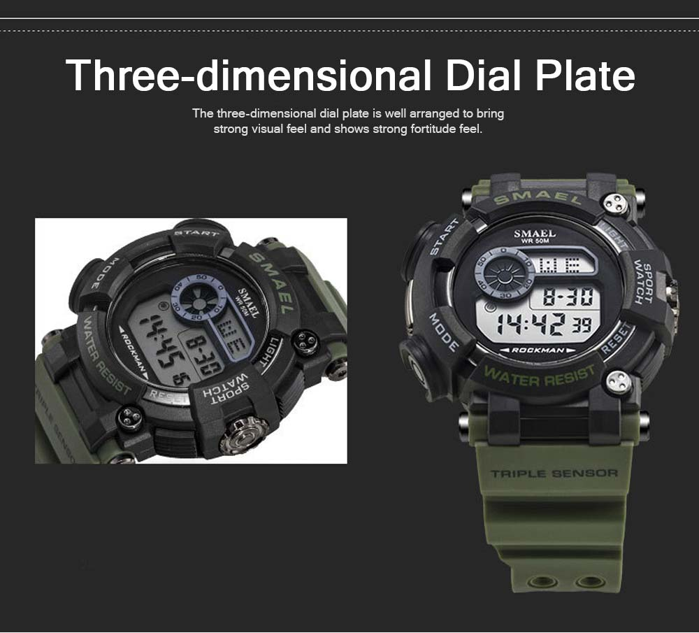 Waterproof Luminous Electronic Watch Red Display For Men Multifunctional Professional Sports Watch 4