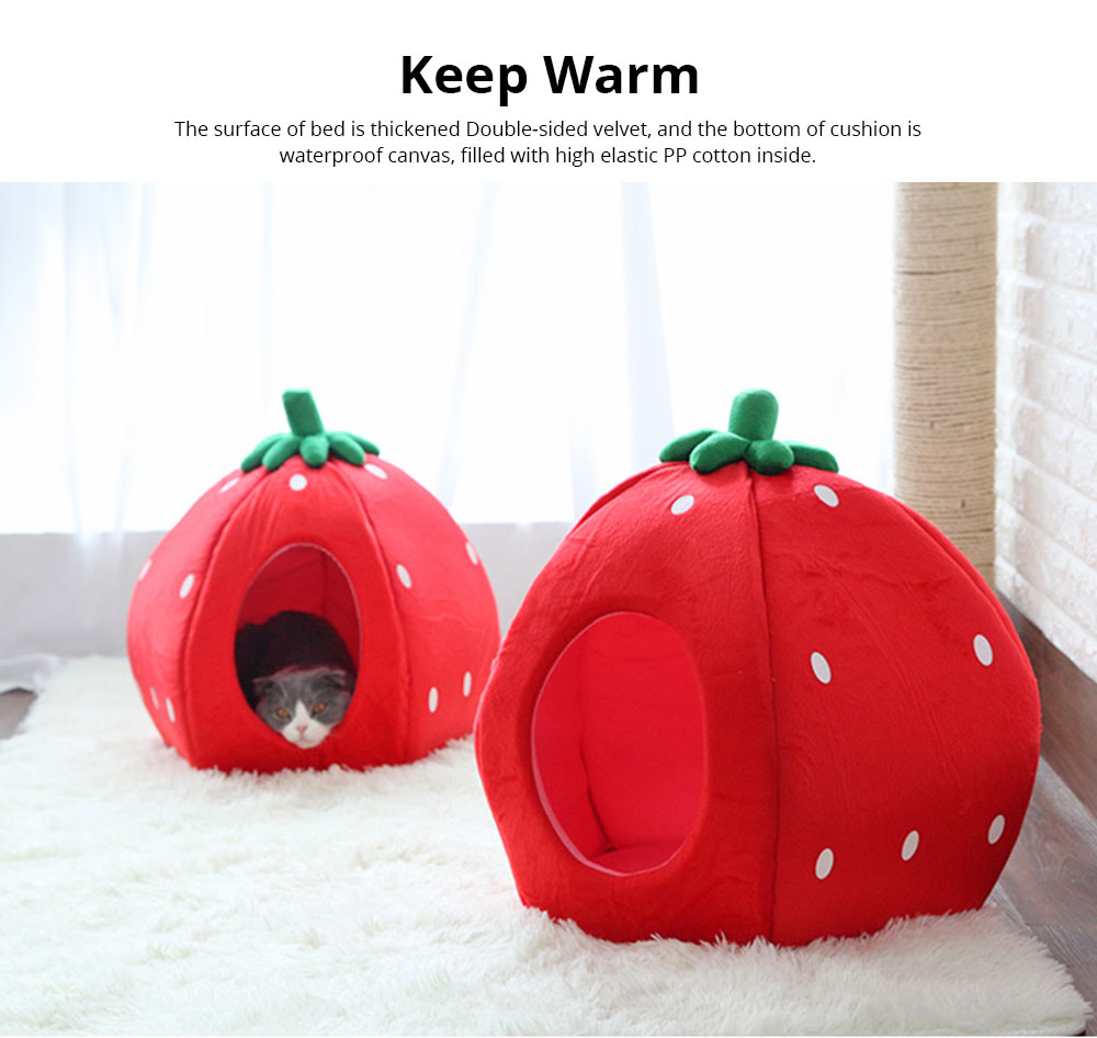 Strawberry Cat House, Washable Soft Durable Detachable Pet Nest, Autumn Winter Pet Accessories Thickened Pet Bed 4