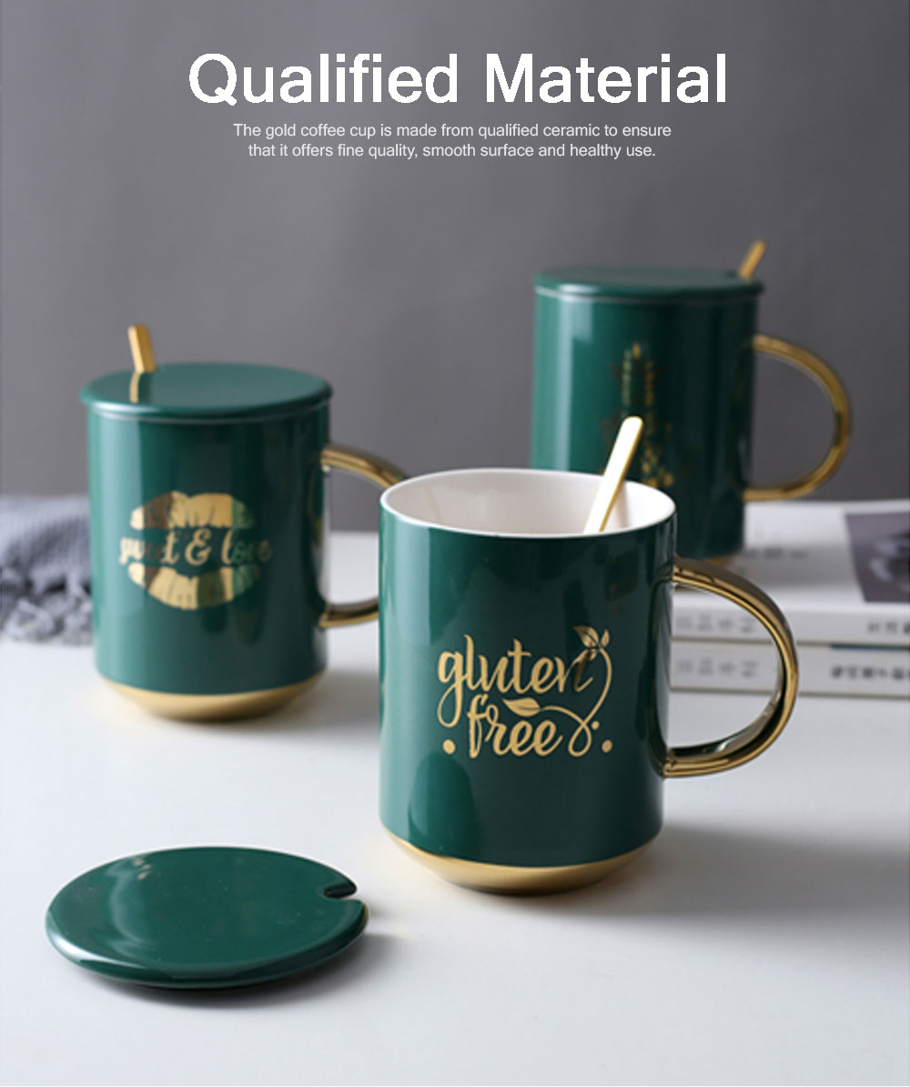 Luxury Gold-plated Dark Green Cup with Spoon and Lid, Office Drinking Creative Gold Coffee Mug Set 1