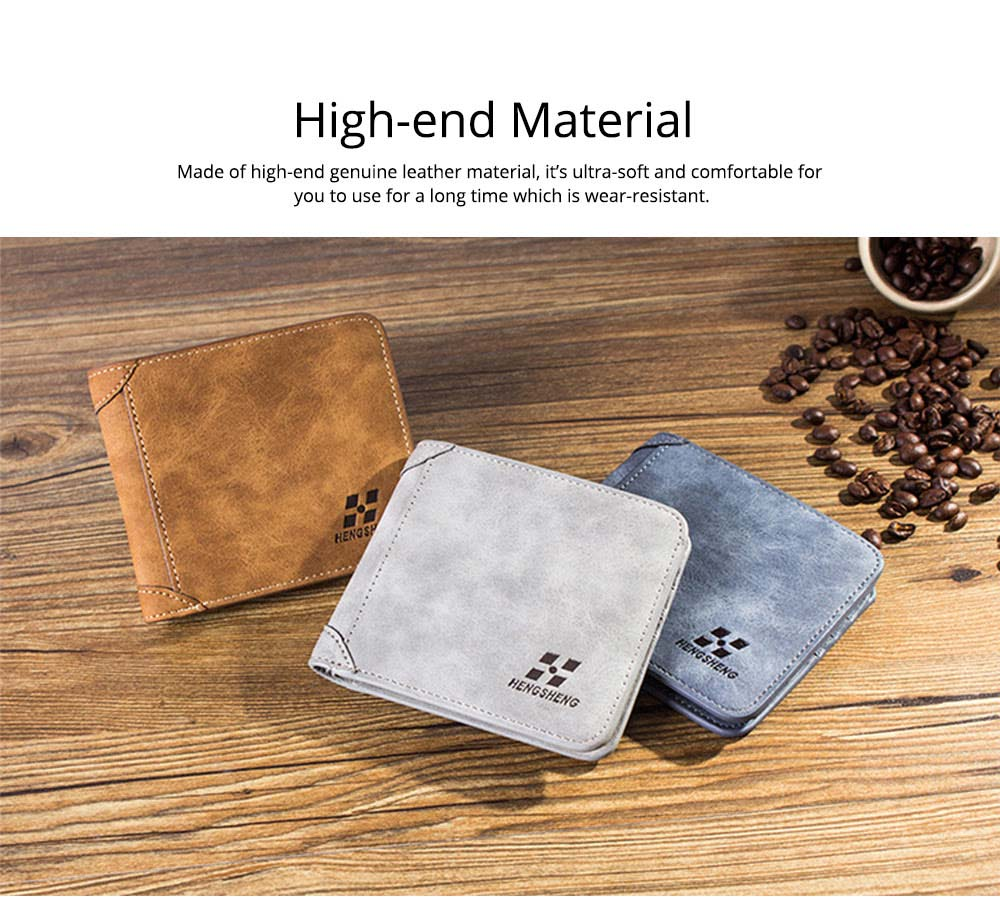 Genuine Leather Frosted Wallet with Three-folding & Multiple Cards Design & SIM Card Slot for Men. 1
