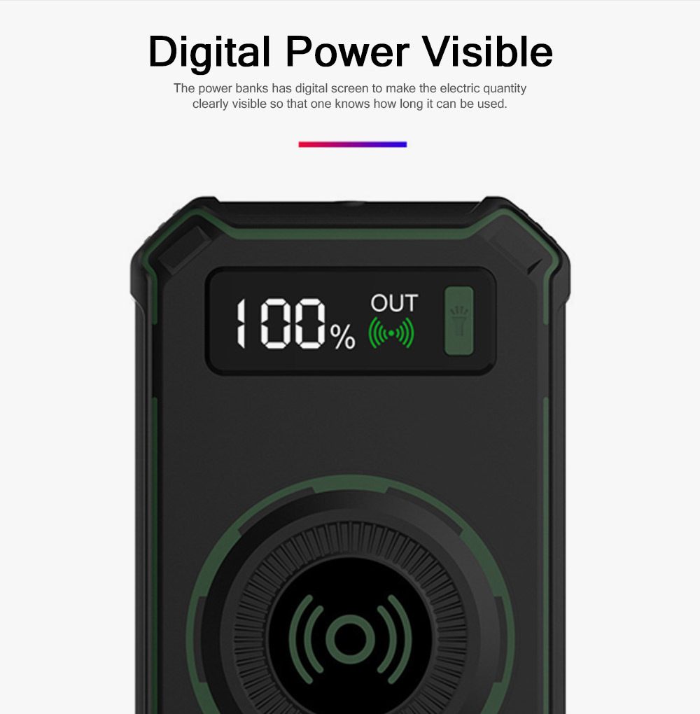 Wireless Power Bank with Display for Outdoor Use, Mobile Power Bank 10000mAh Ultra Slim Quick Charge with Wall Plug 7