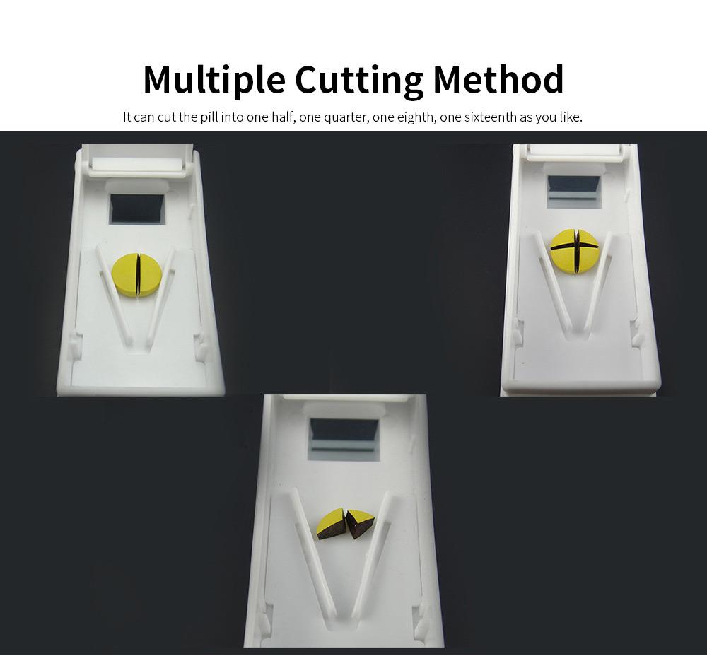 Stamper Shape Pill Cutter Box for Children Elderly, Sharp Stainless Steel V-shape Medicine Cutter Splitter 4