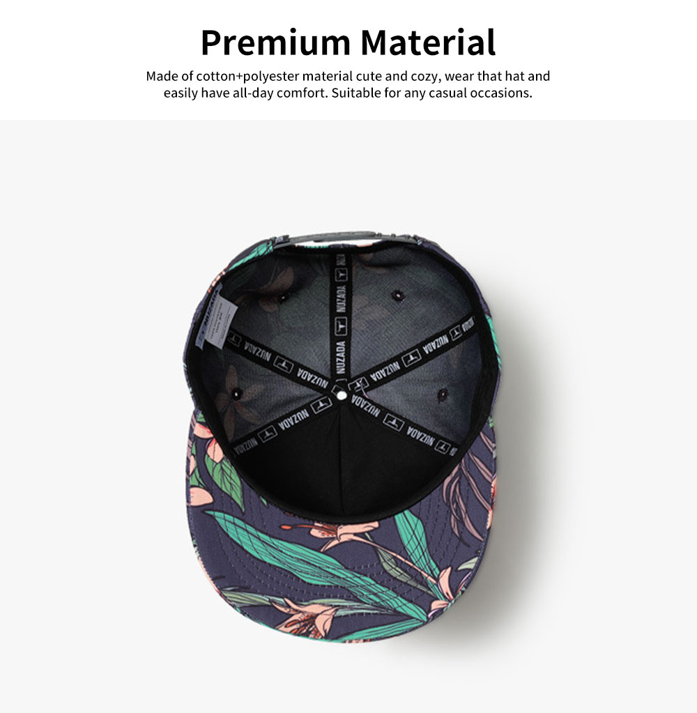 Unisex 3D Floral Print Baseball Hat Breathable Fashion Summer Hat Snap Back Hip Pop Baseball Caps for Travel Running 3