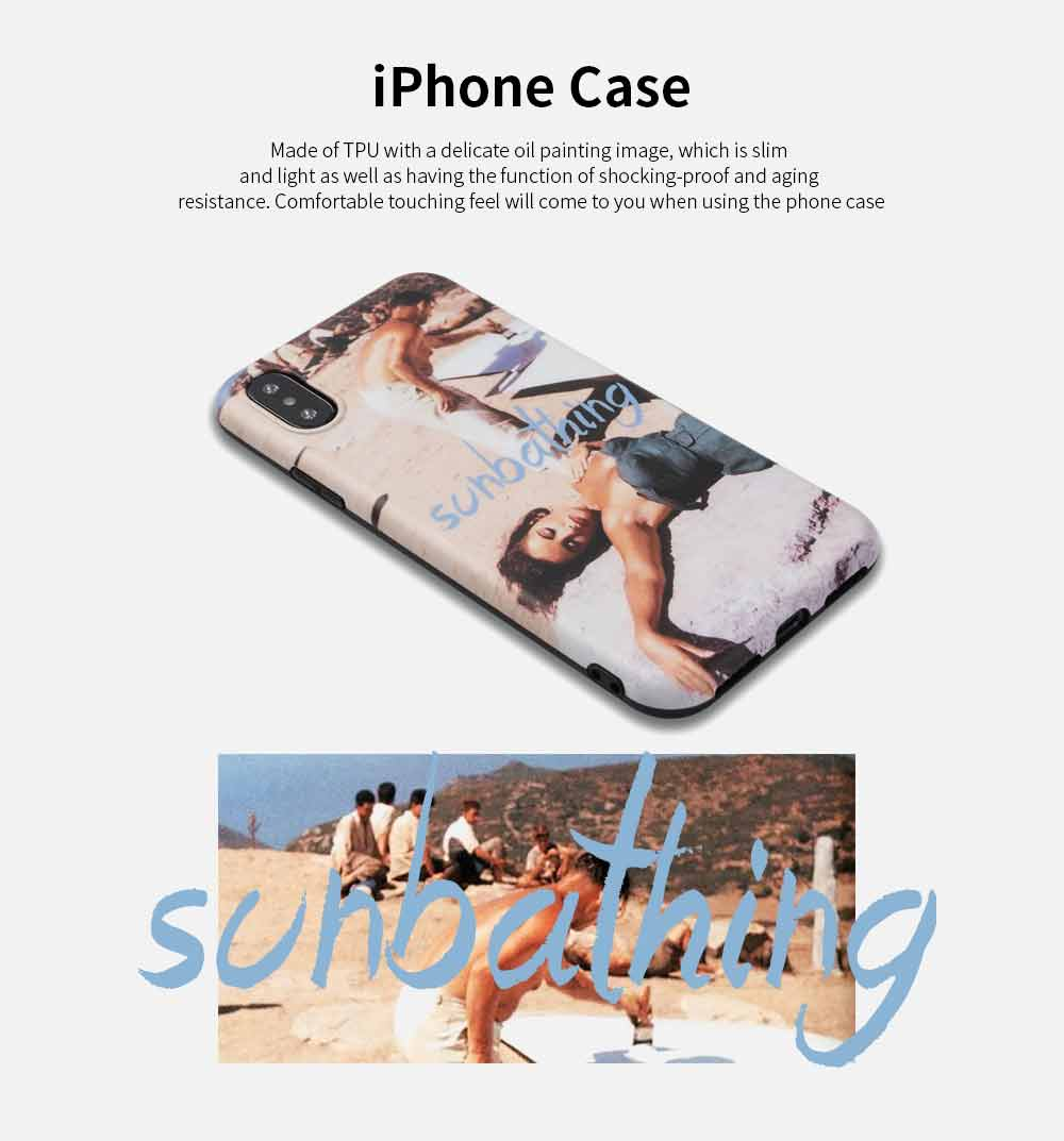 Oil Painted Image iPhone Case, Sunny Beach Original Phone Case Cover for iPhone X, XS, MAX, XR, 6S,7, 8 Plus 0
