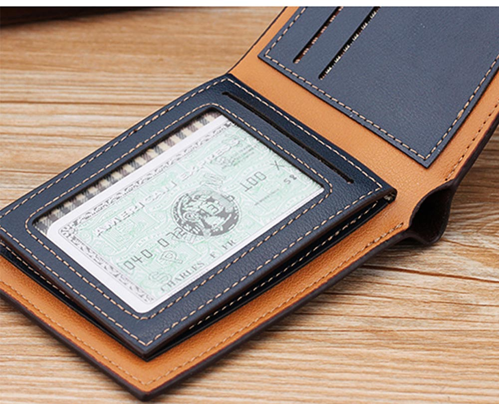 Business Style Genuine Leather Frosted Wallet with Two-folding and Multiple Cards Design for Men 7