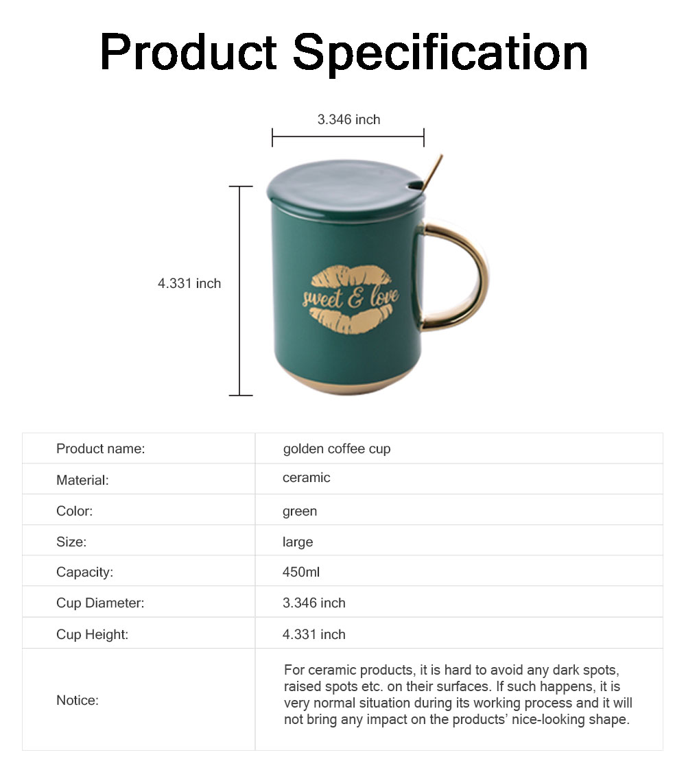 Luxury Gold-plated Dark Green Cup with Spoon and Lid, Office Drinking Creative Gold Coffee Mug Set 6