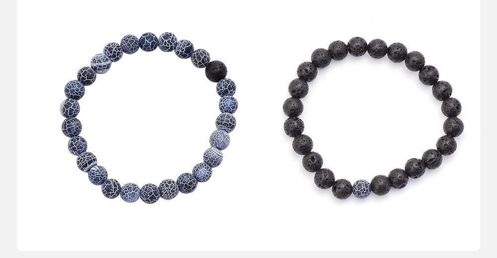 Minimalist Tiger Eye Natural Stone 8MM Beaded Hand Chain Suit, 2PCS Translucent Lava Beaded Bracelet Set for Men Ladies Women 4