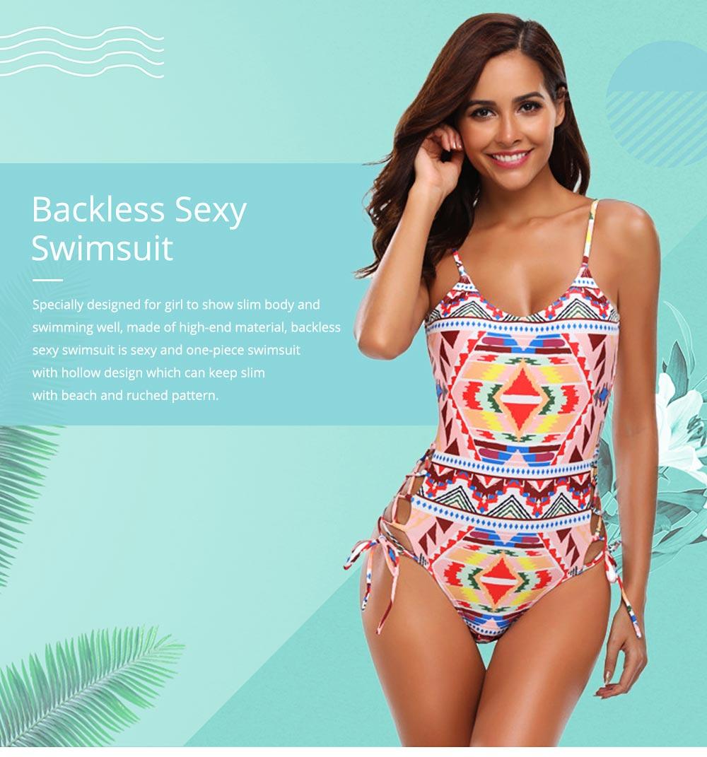 Backless Sexy Swimsuit One-piece Cutout Sexy Bikini Skin-friendly and Comfortable Swimwear 0