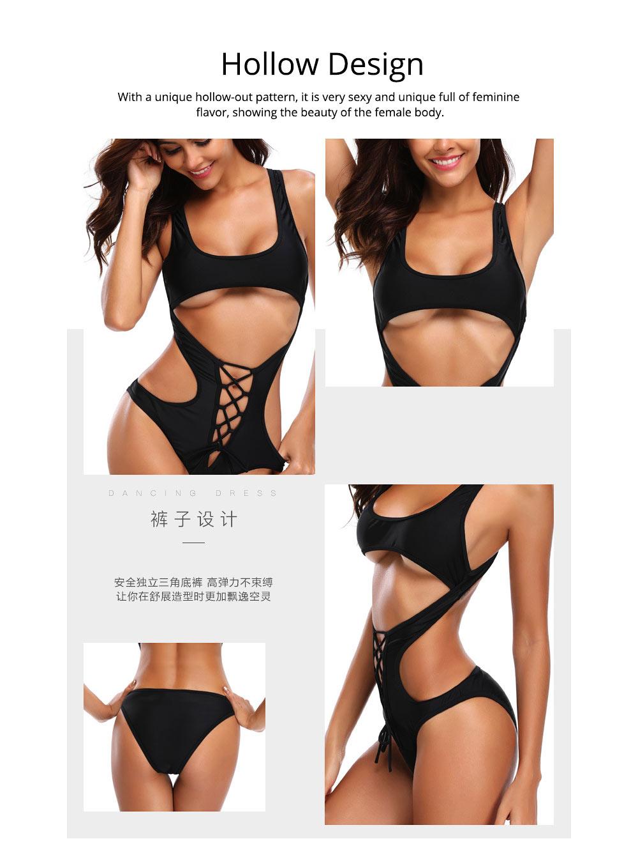 Solid Bikini Swimsuit with One-piece Design, Black Cutout Sexy Bikini, Skin-friendly Comfortable Swimwear 4