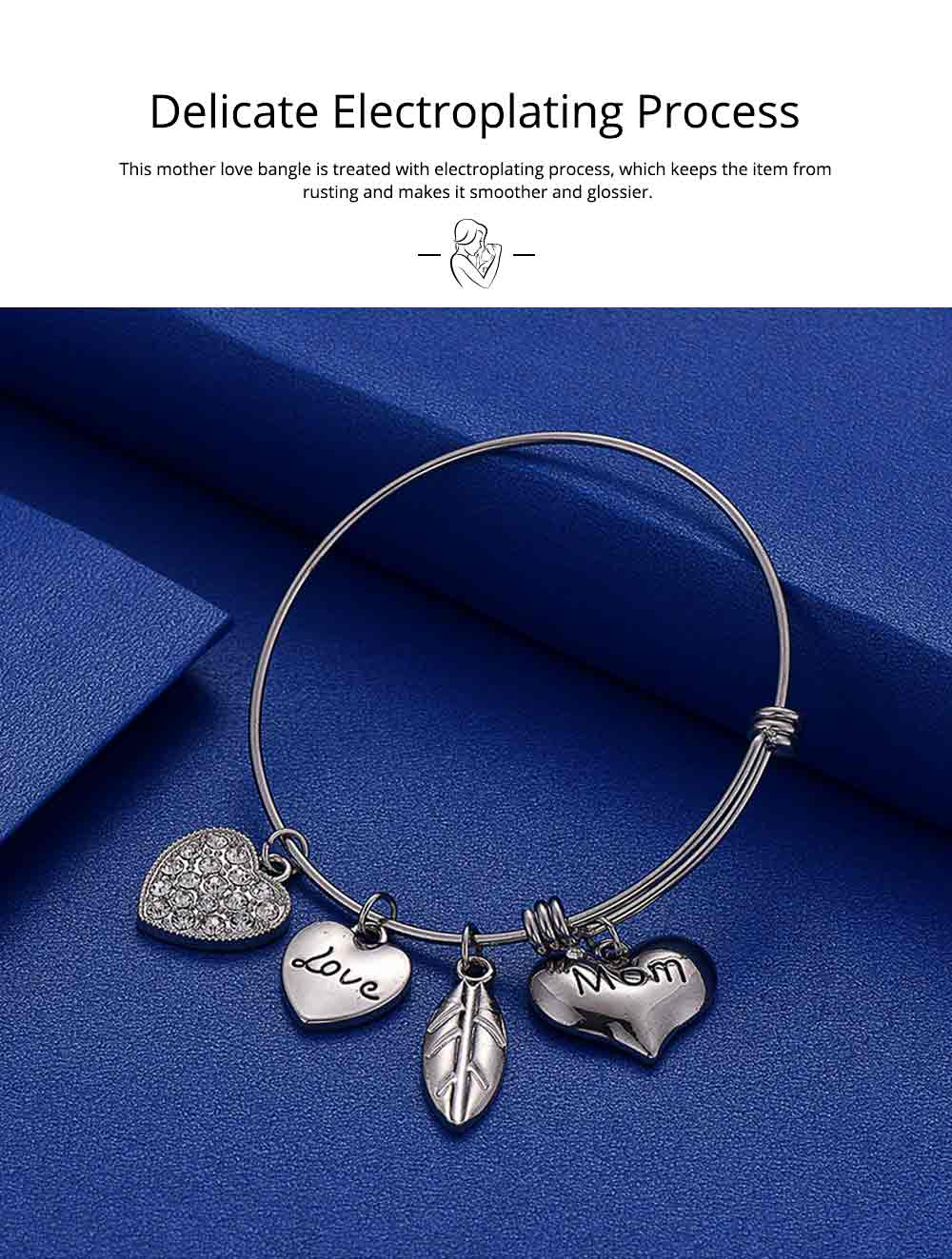 Stylish Heart Model Diamond Drilling Stainless Steel Bracelet, Mother Love Letter Electroplating Adjustable Silver Chain Bangle for Mothers 2