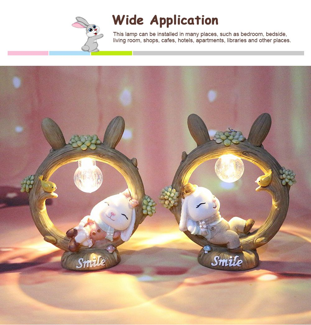 Anne Rabbit Night Light Piggy Bank Resin LED Mini Night Lamp Home Car Decoration Creative Resin Ornaments 5
