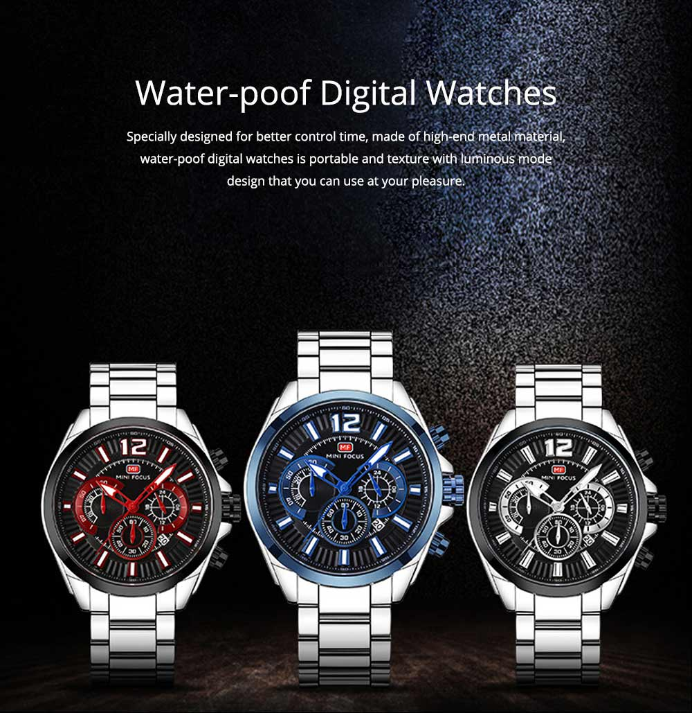 Men's Sports Watch with Luminous Mode, Water-poof Digital Watches with Metal Strap 0