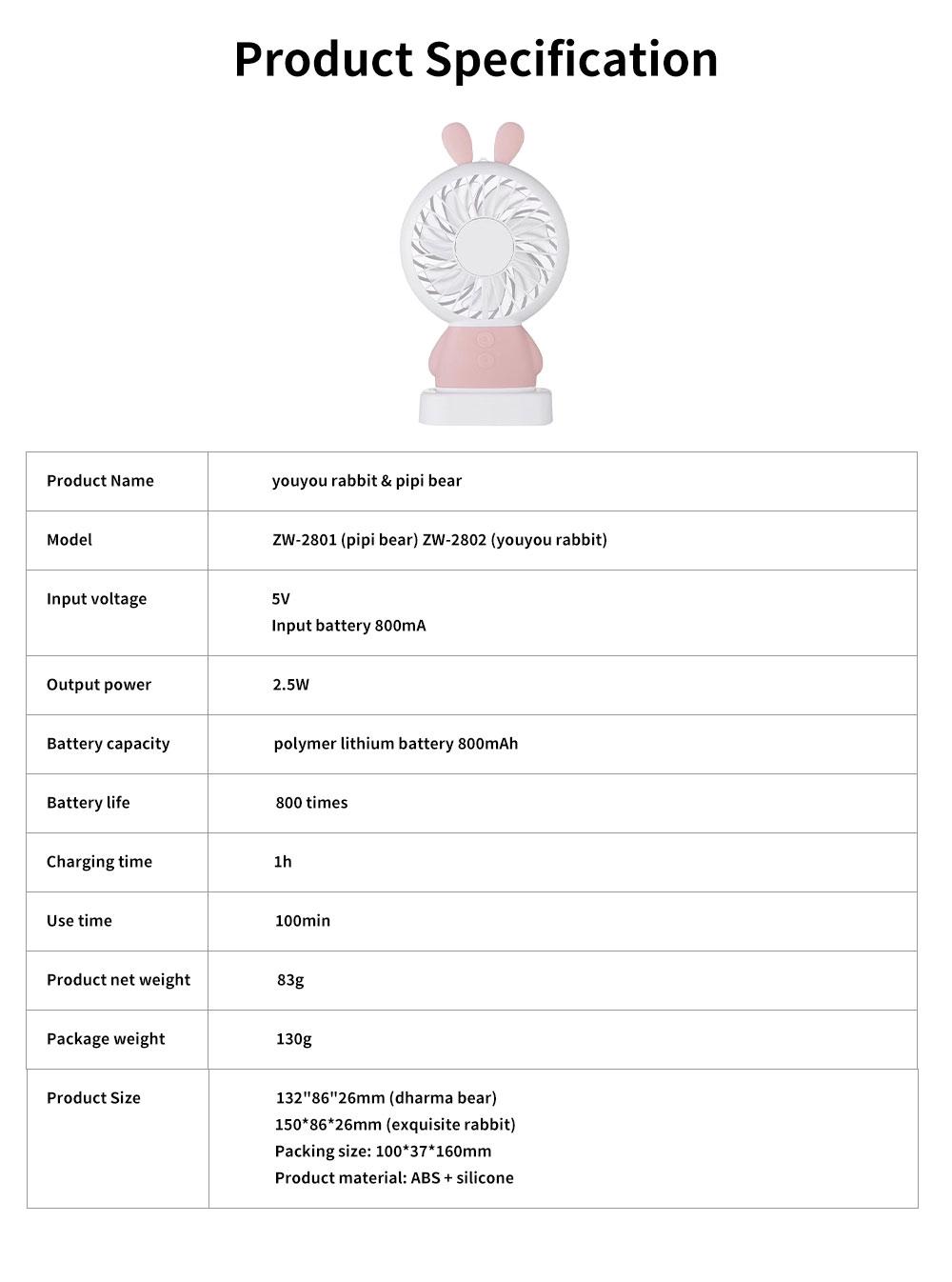 New Rabbit Mini Handheld Fan, Dharma Bear Night Light USB Charging Fan, Outdoor Compact and Convenient Electric Fan 6