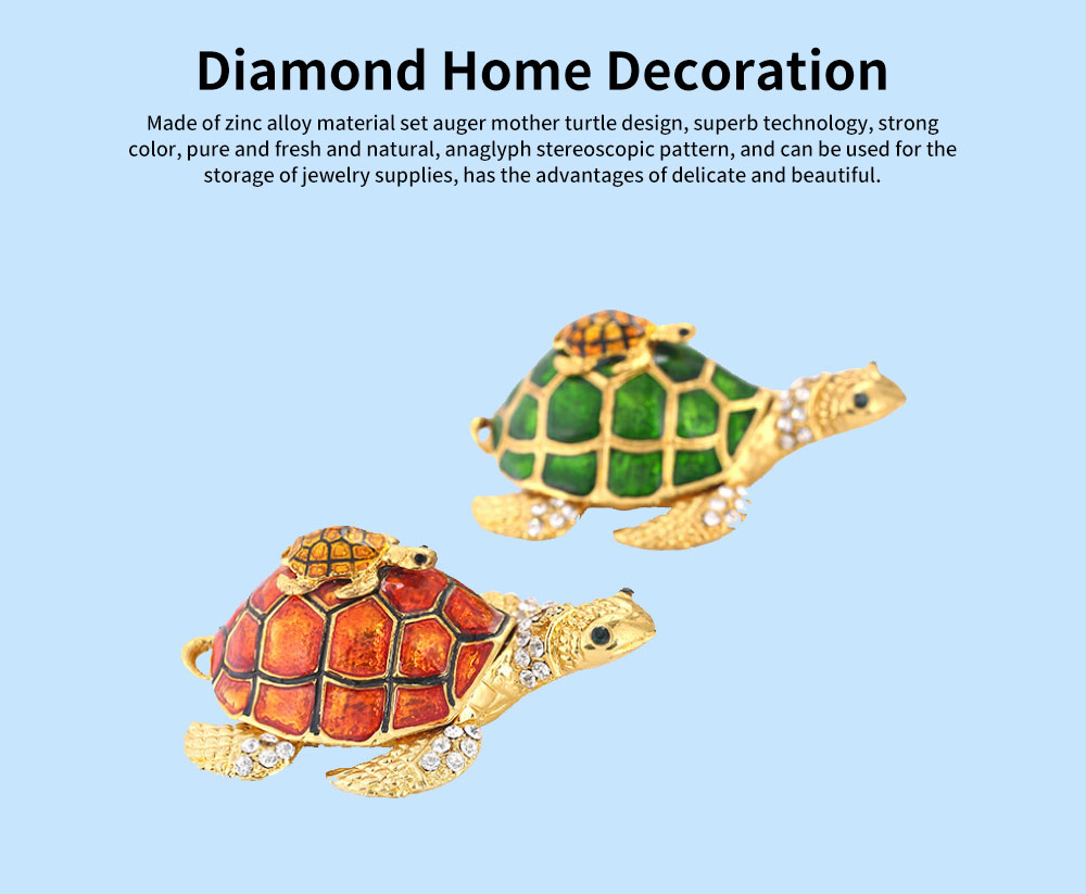 Southeast Asian Style Enamel Painted Crafts, Diamond Mother and Child Turtle Home Decoration, Exquisite Small Jewelry Box 0