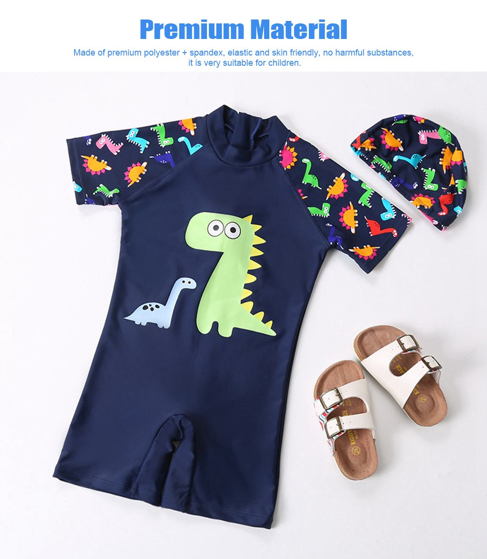 Little Boys One Piece Sunsuit Cute Short Sleeve Surfing Swimsuit Dinosaur Monster Children's Swimsuit with High Elasticity 4