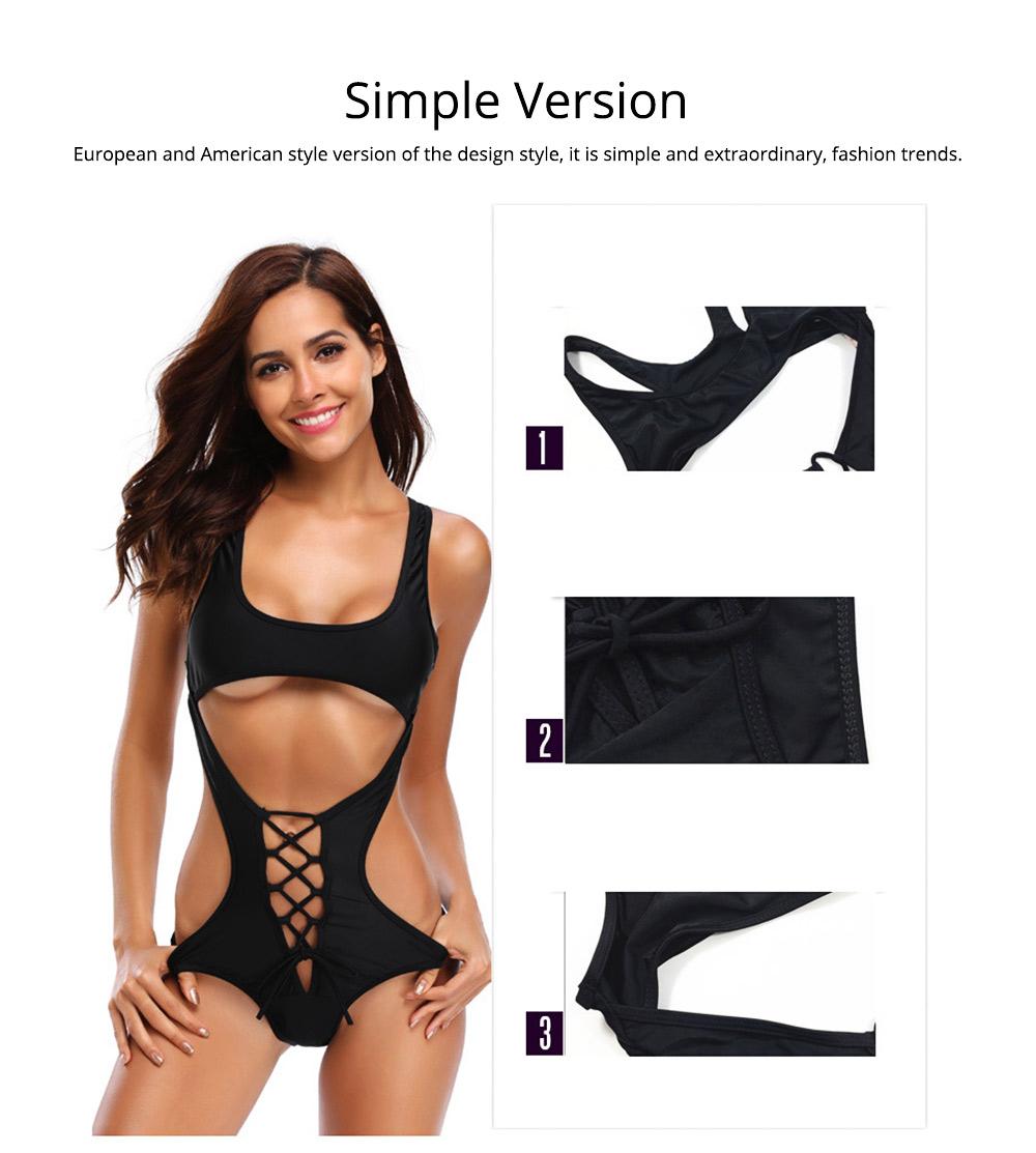 Solid Bikini Swimsuit with One-piece Design, Black Cutout Sexy Bikini, Skin-friendly Comfortable Swimwear 3