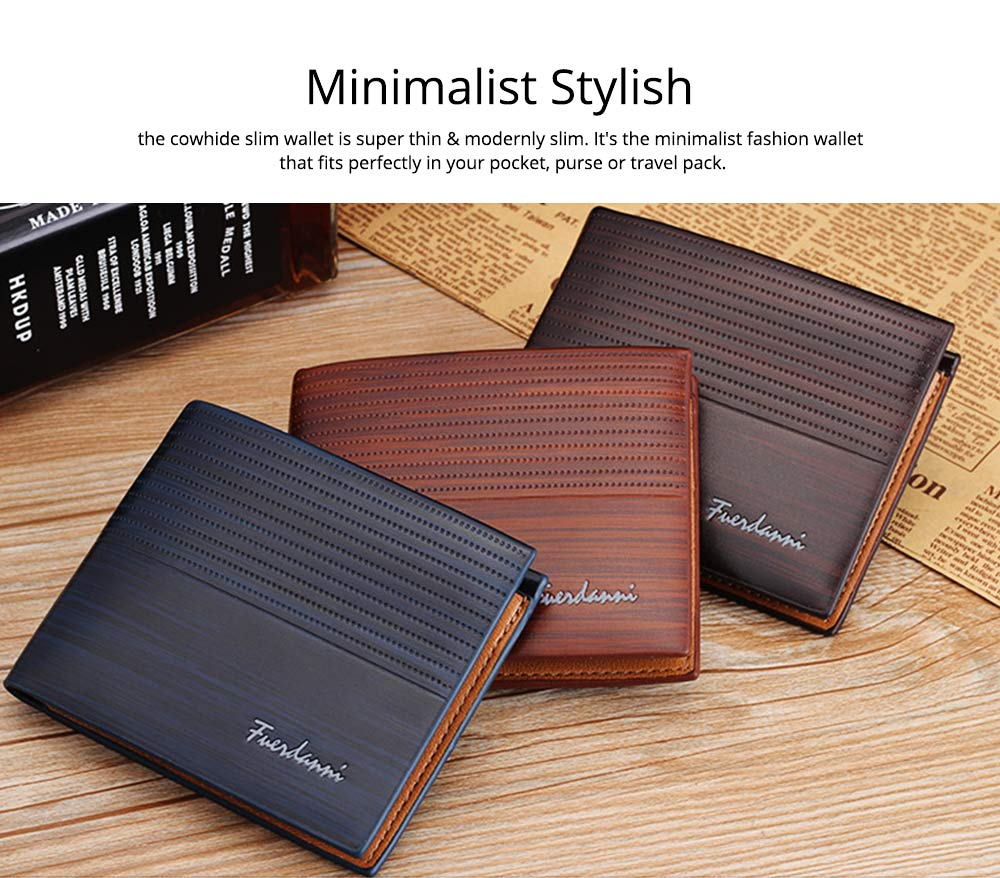 Business Style Genuine Leather Frosted Wallet with Two-folding and Multiple Cards Design for Men 3