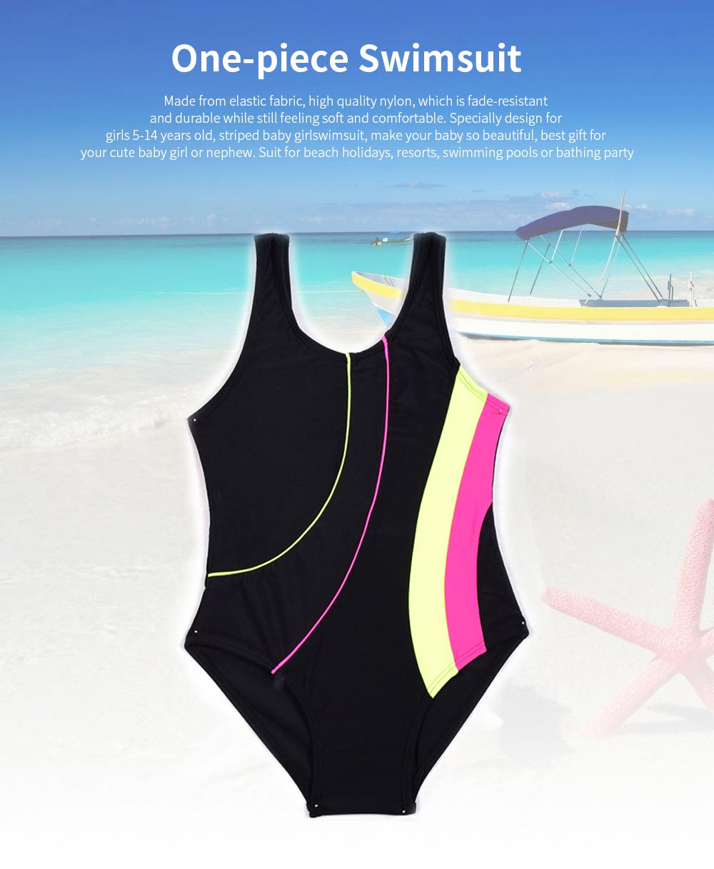 New Style Children's Swimsuits, Girls Colorful Stripes One-piece Swimsuit 0
