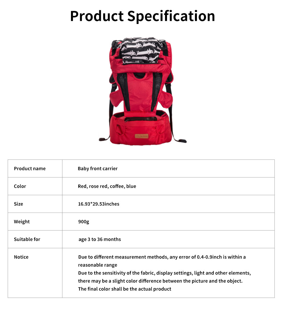 Front Carriers Baby Waist Stool Multifunctional Comfortable 4 Seasons Universal Detachable Baby Carriers Backpack 6
