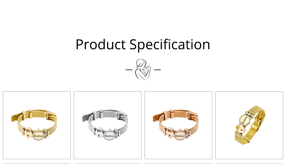 Stylish Heart Lock Model Mother Love Diamond Drilling Stainless Steel Bracelet, Family Love Electroplating Silver Gold Chain Bangle for Mothers 6