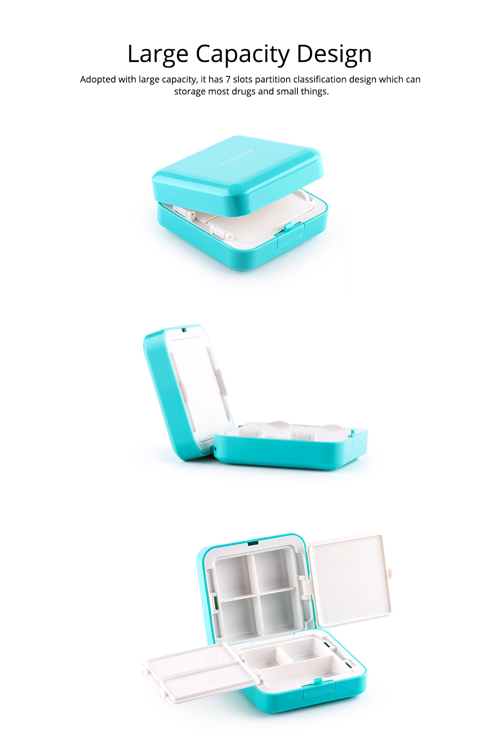 Convenient Double-layers Medicine Box with Internal & External Clasp Design, Sealed Moisture-proof Medicine Box 1