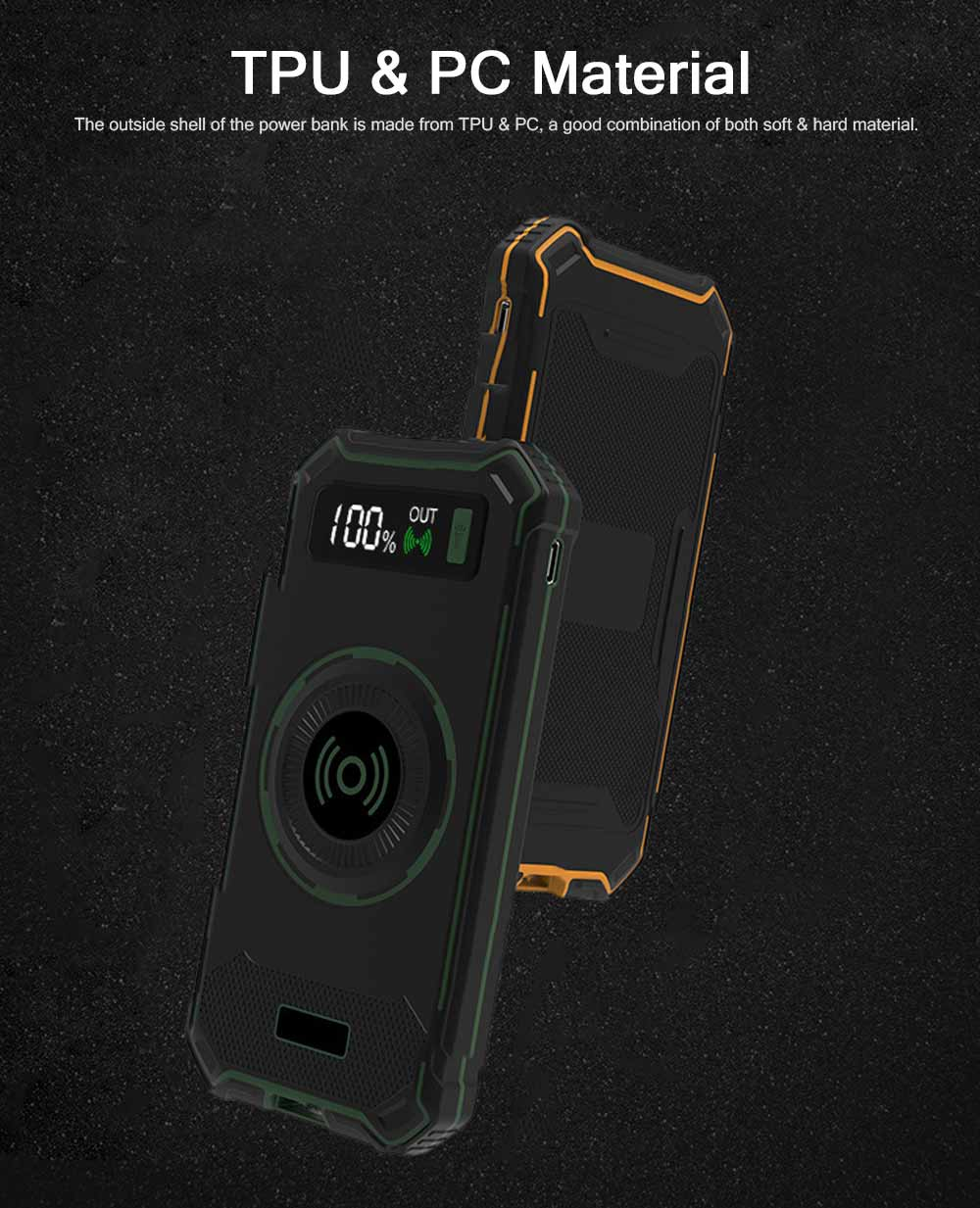 Wireless Power Bank with Display for Outdoor Use, Mobile Power Bank 10000mAh Ultra Slim Quick Charge with Wall Plug 2