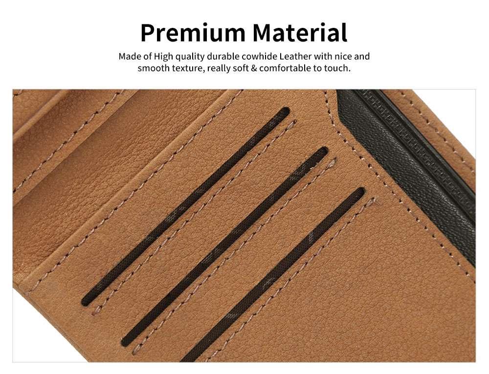 Men's Wallet RFID Blocking Genuine Leather Wallets Slim Bifold Top Flip Money Card Clip Gifts for Male Men 3