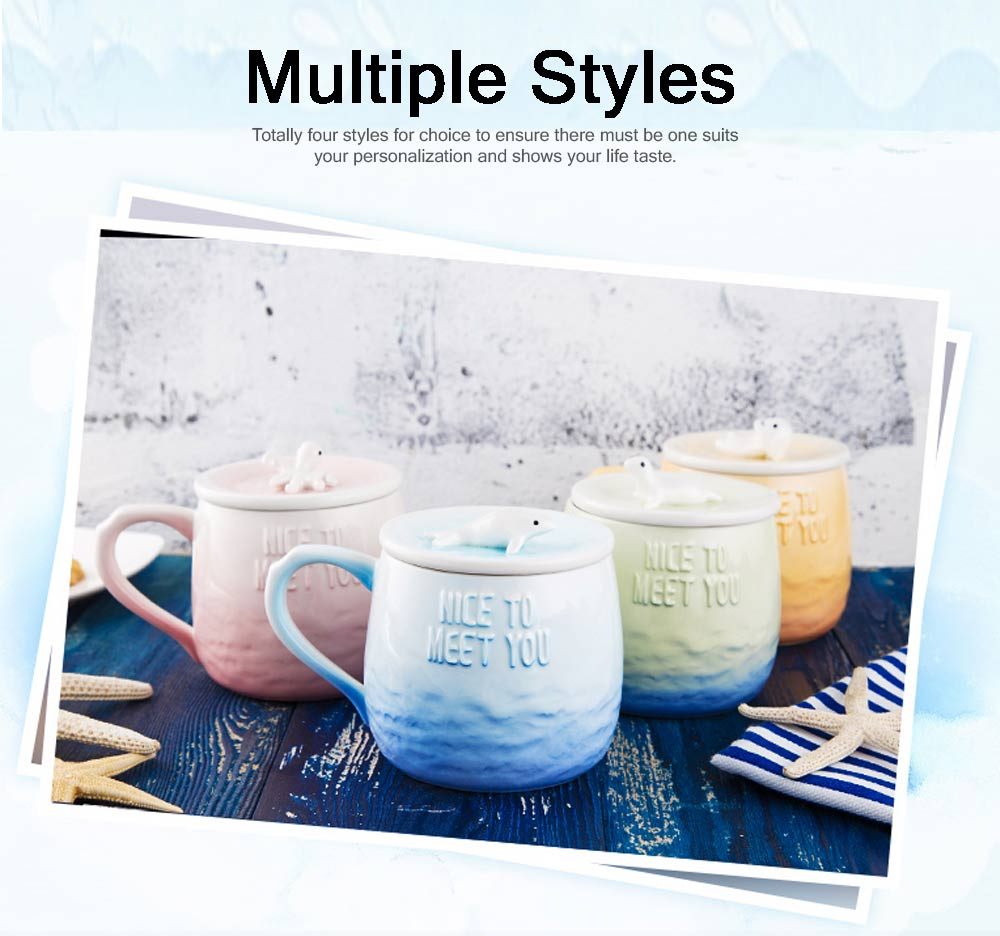 Breakfast Ceramic Cup Aromatherapy for Lovers Gift Gradient Ramp Color Cup Ceramic Cup with Lid Ocean Decoration 5