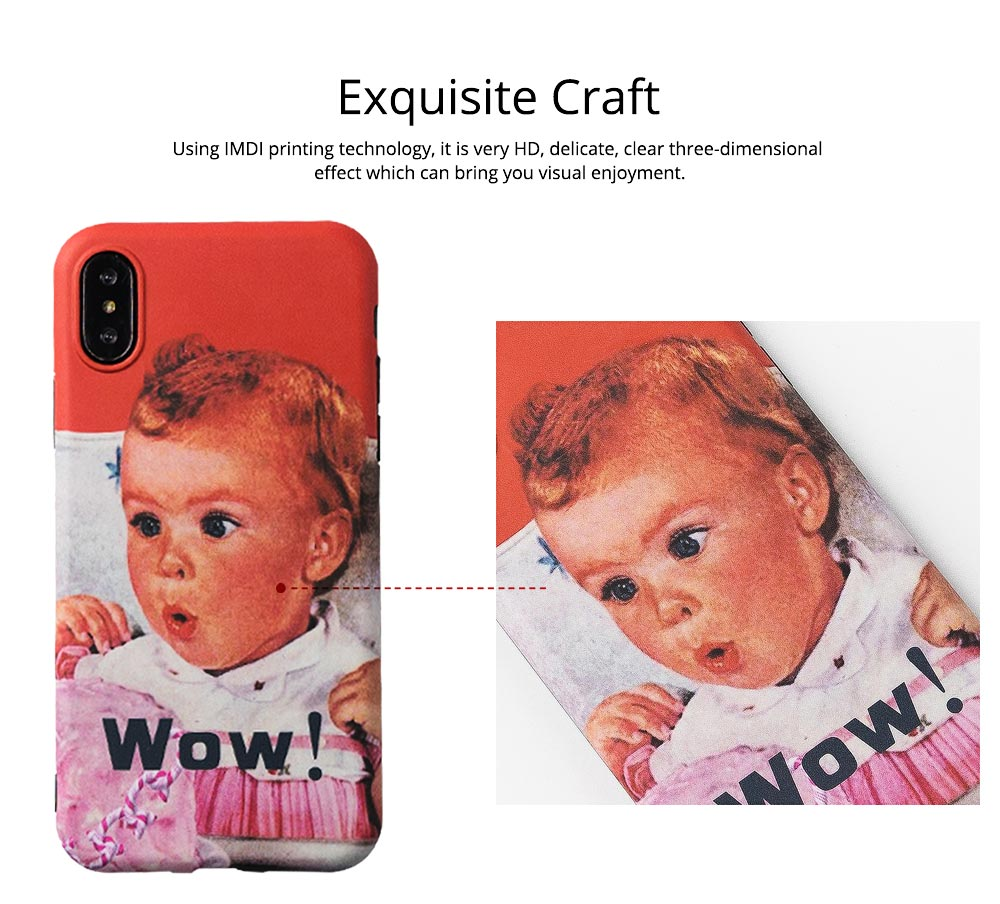 Cute Vintage WOW Girl Phone Shell for iPhone 6/6s, 6p/6sp, 7p/8p, X/XS, XR 2