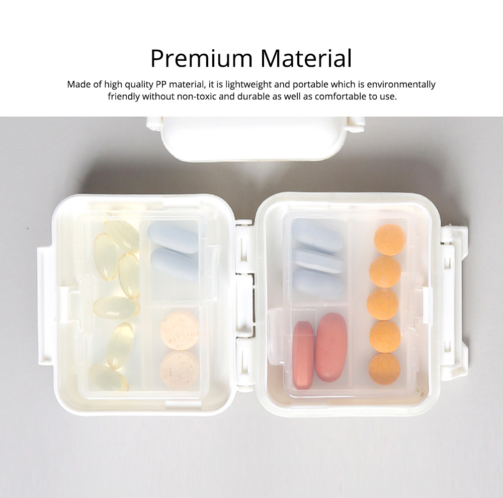 Portable Moisture-proof Double Layer Weekly Pill Box with 6 Removable Compartments 1