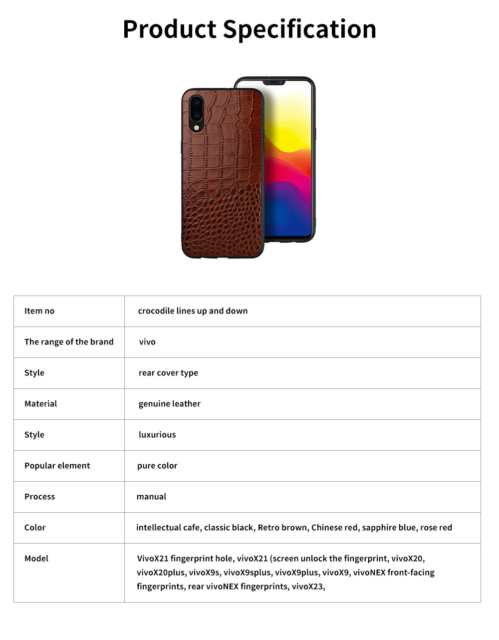 Classic Leather Phone Case for Vivo x21, Anti-fall Mobile Phone Case for X20 plus, Non-slip Full-pack Case for Vivo X23 6